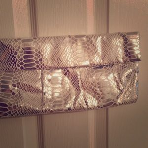 Style & Co. Silver Metallic Clutch Purse